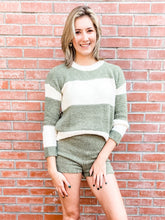 Load image into Gallery viewer, Olive Striped Sweater/Short Loungewear Set Front