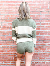 Load image into Gallery viewer, Olive Striped Sweater/Short Loungewear Set Back