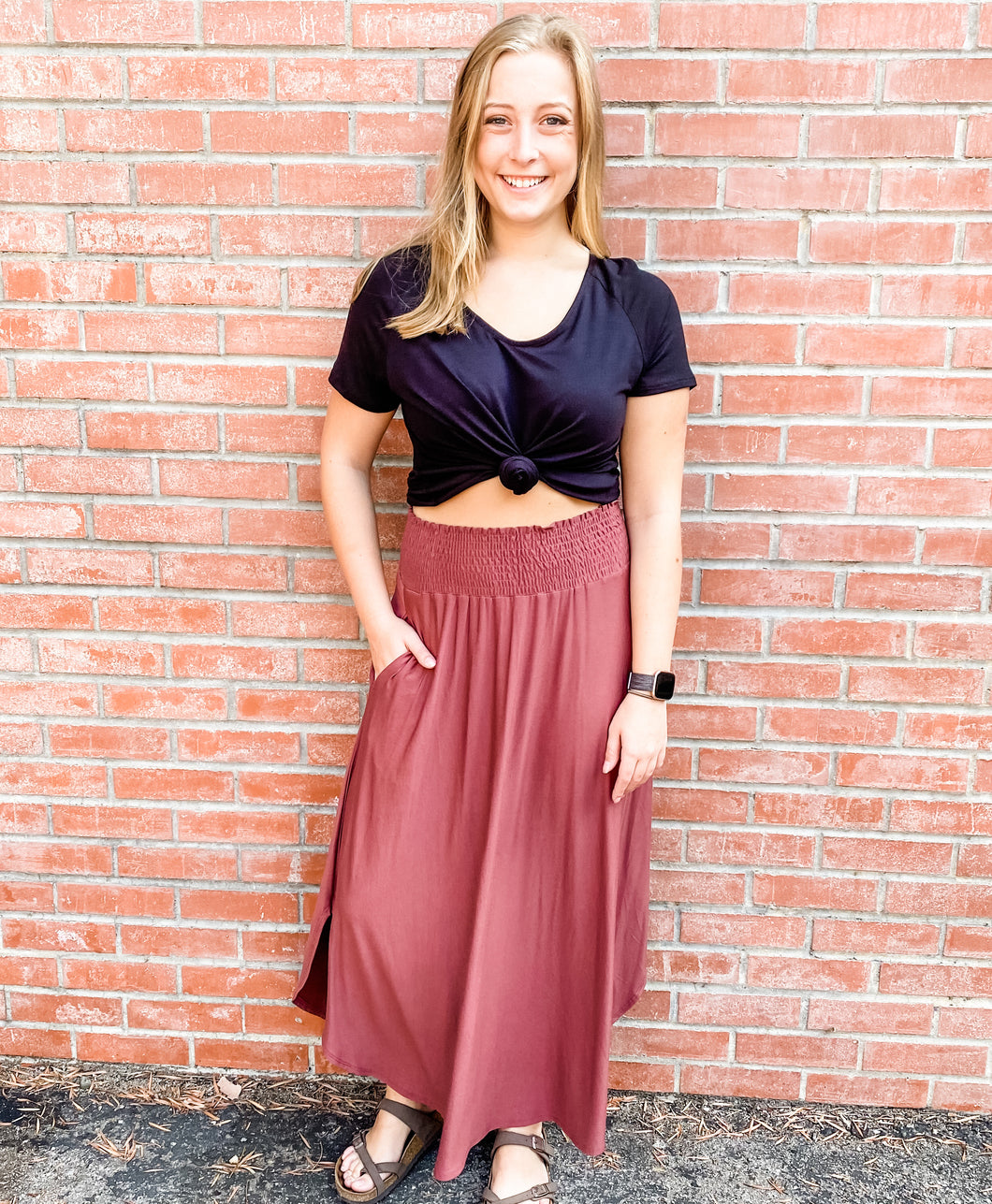 Rose Jersey Maxi Skirt with Pockets Back