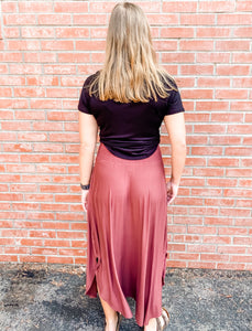 Rose Jersey Maxi Skirt with Pockets Front