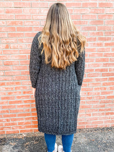 Charcoal Cardigan with Pockets Back