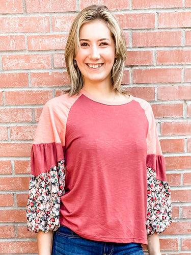 Marsala Patchwork Long Sleeve Top Front
