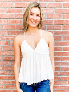White Lace Cami Top Front