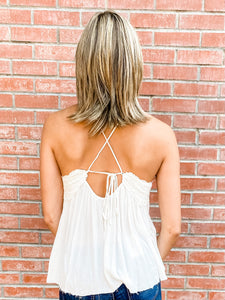 White Lace Cami Top Back