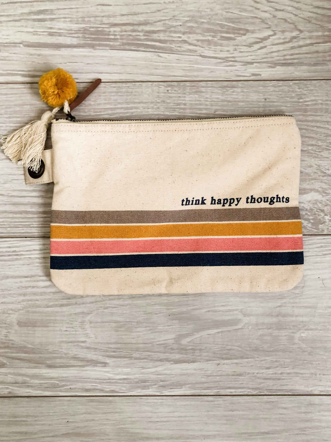 Think Happy Thoughts Canvas Pouch