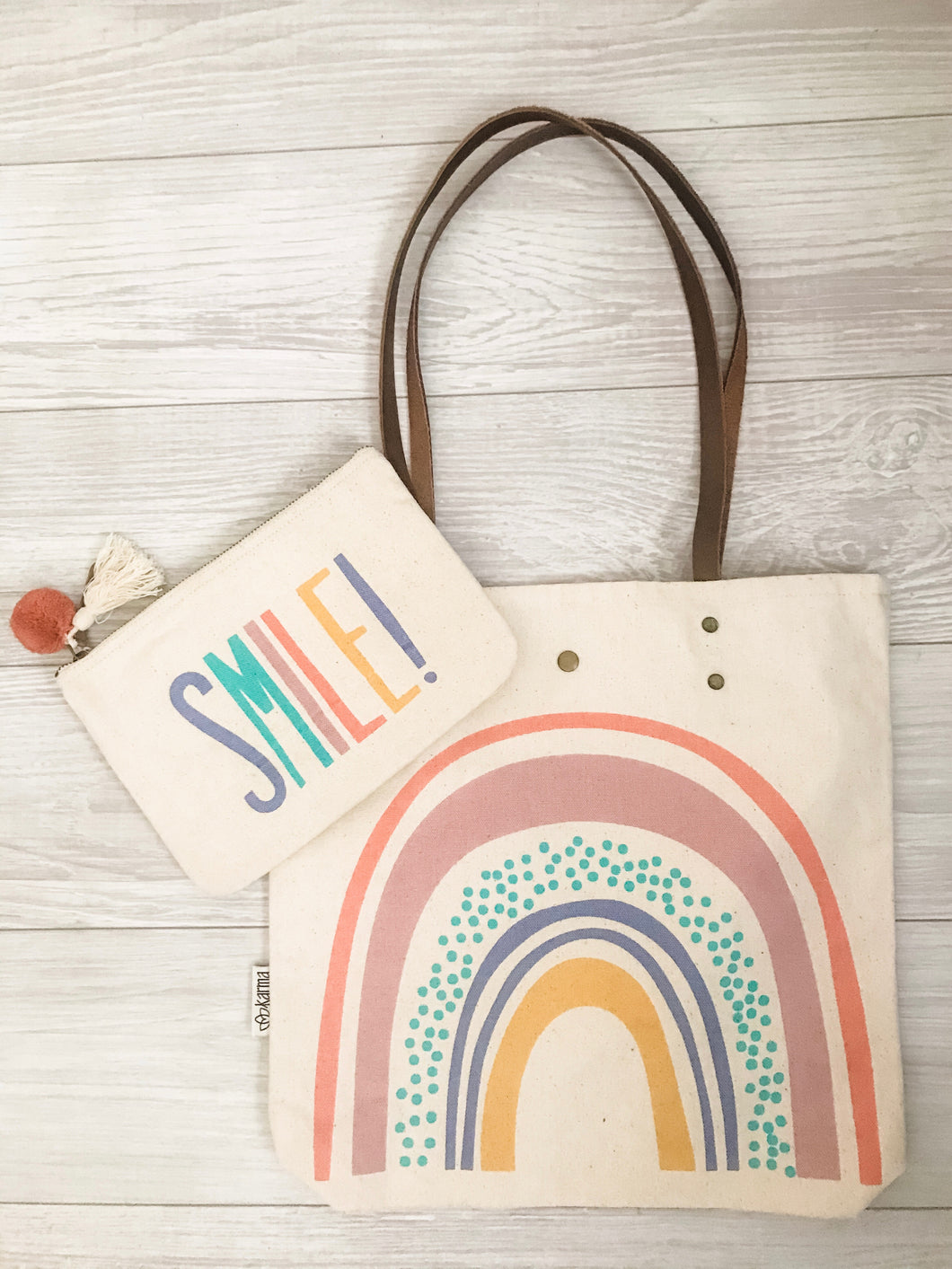 Smile! Canvas Pouch and Rainbow Canvas Tote