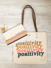 Load image into Gallery viewer, Think Happy Thoughts Canvas Pouch and Positivity Canvas Tote