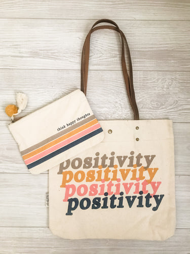 Think Happy Thoughts Canvas Pouch and Positivity Canvas Tote