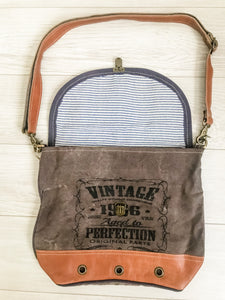 Vintage Canvas Leather Trim Bag