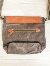 Load image into Gallery viewer, Vintage Canvas Leather Trim Bag Back