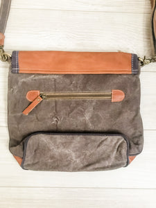 Vintage Canvas Leather Trim Bag Back