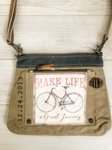 Make Life a Great Journey Canvas Crossbody Bag