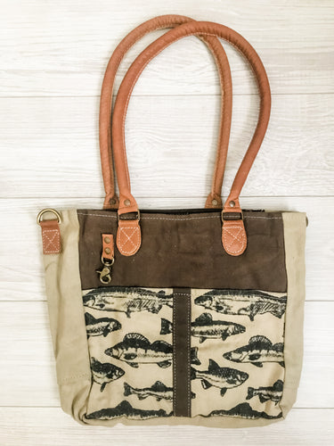 Vintage Canvas Fish Print Bag