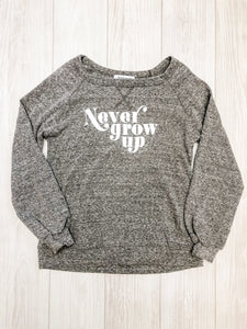 Dark Grey Never Grow Up Sweatshirt
