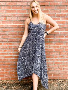 Navy Scatter Print Cami Maxi Dress Front