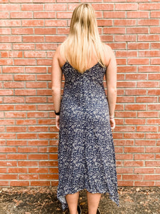 Navy Scatter Print Cami Maxi Dress Back