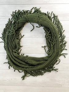Olive Knit Fringed Infinity Scarf