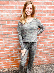 Olive Camo Stripe Loungewear Set