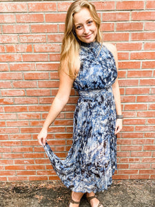 Navy/Black Tie Dye Print Sleeveless Dress Front