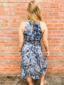 Navy/Black Tie Dye Print Sleeveless Dress Back