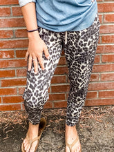Load image into Gallery viewer, Grey Leopard Print Joggers Front