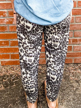 Load image into Gallery viewer, Grey Leopard Print Joggers Back
