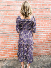 Load image into Gallery viewer, Navy Flower Print Long Sleeve Mock Dress Back