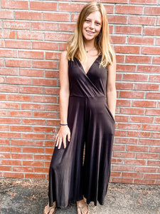 Black Jersey Sleeveless Jumpsuit Front