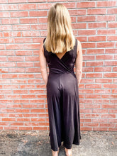 Load image into Gallery viewer, Black Jersey Sleeveless Jumpsuit Back