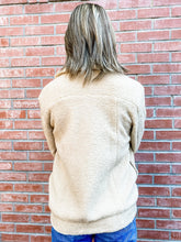 Load image into Gallery viewer, Taupe Collared Sherpa Button Up Jacket Back