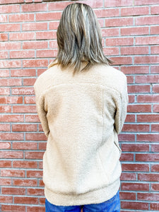 Taupe Collared Sherpa Button Up Jacket Back