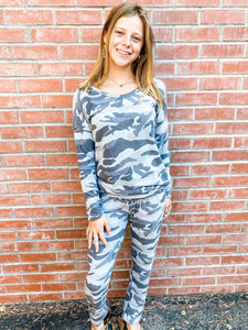 Grey Camo Hacci Loungewear Set Front