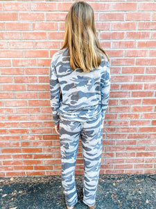 Grey Camo Hacci Loungewear Set Back