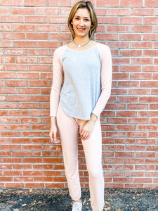 Pink Smoke Brushed Loungewear Set Front
