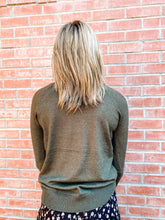 Load image into Gallery viewer, Olive Raglan Line Detail Sweater Back