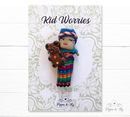 handmade traditional worry doll wearing a traditional mayan costume