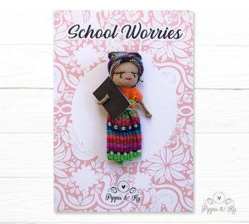handmade guatemalan worry doll wearing a traditional mayan costume