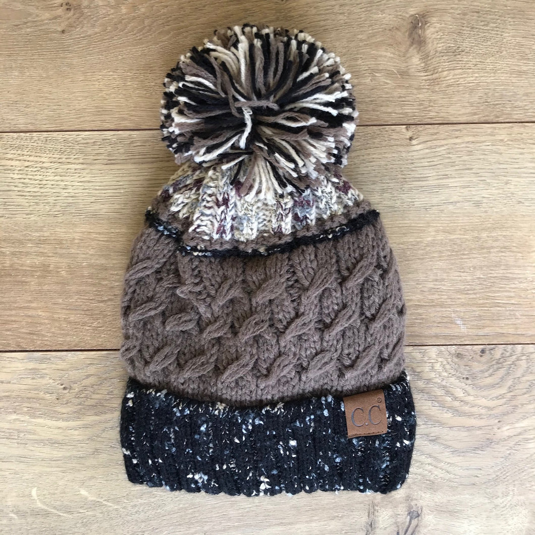 Taupe Blend Beanie With Pom - French Quarter Boutique