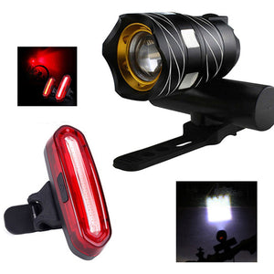 Bike light set 16000LM T6 LED Zoomable USB Rechargeable lamp + 120 Lumens  USB Rechargeable Taillight