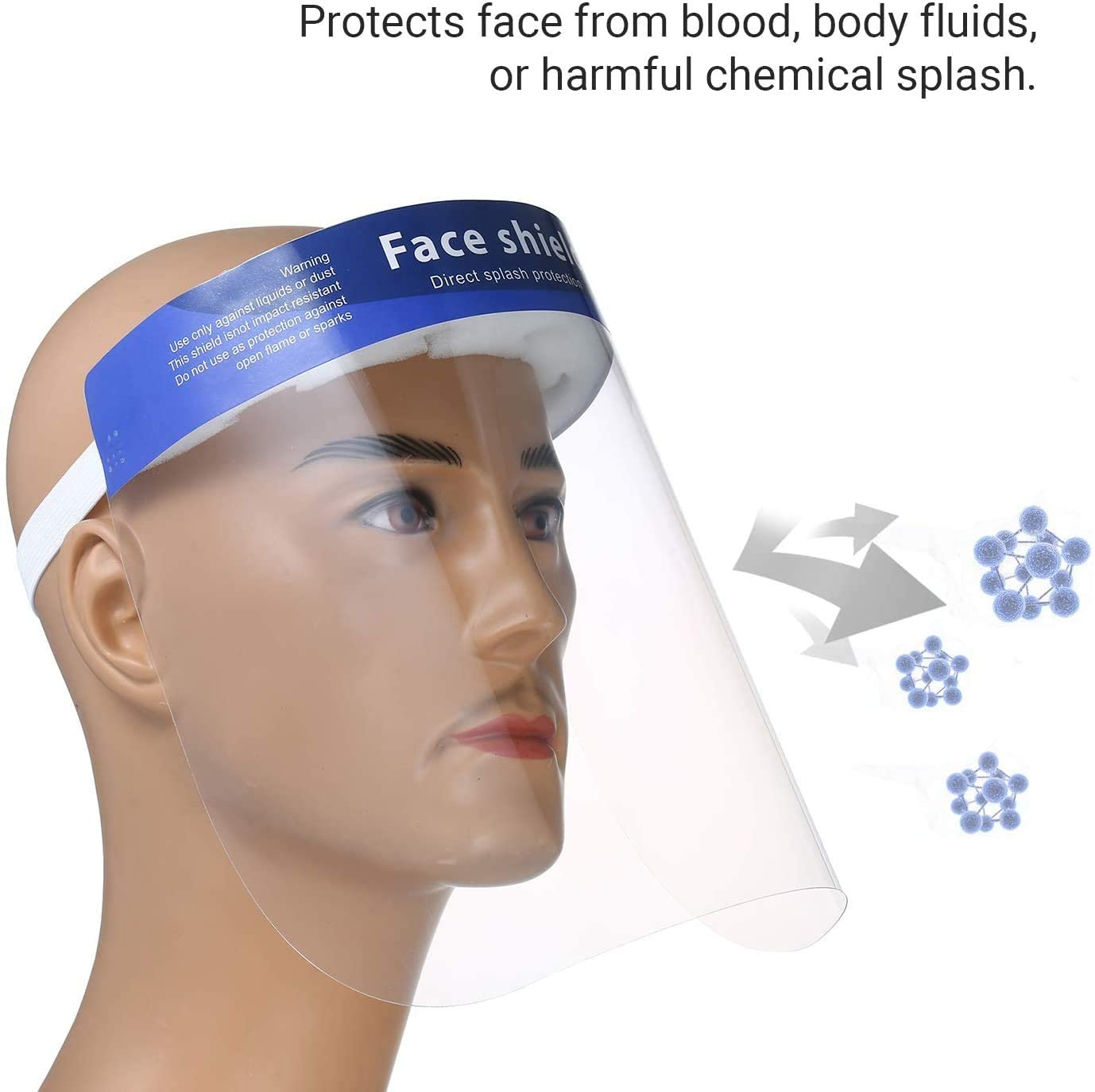 Safety Face Shield, Transparent Full Face Protective Masks Anti-Spitting/Anti-Dust/Anti-Flu Facial Cover for Women Men Adjustable Visor Eye & Head Protection