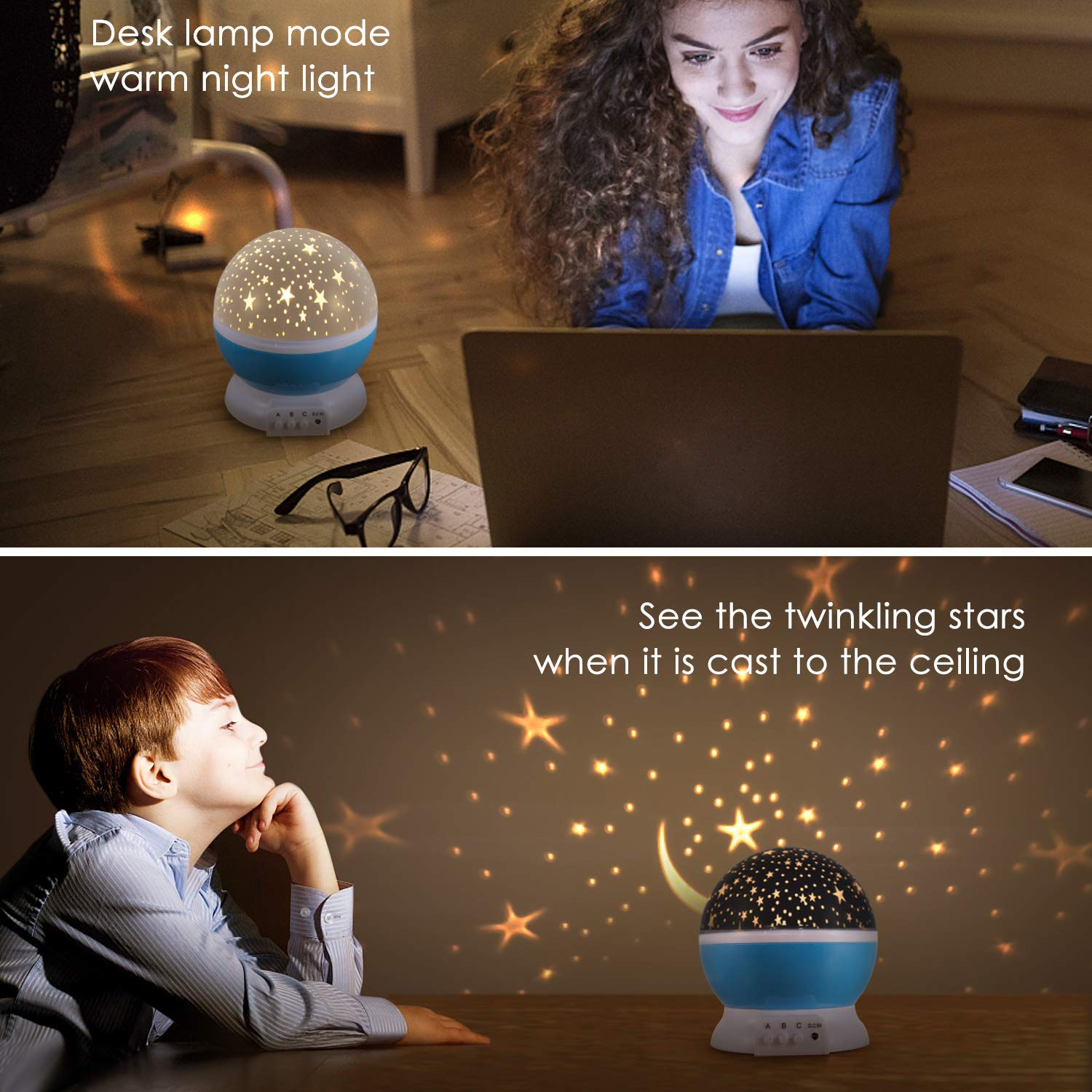 Starry Star Moon Sky Projector Night Lights Lamp