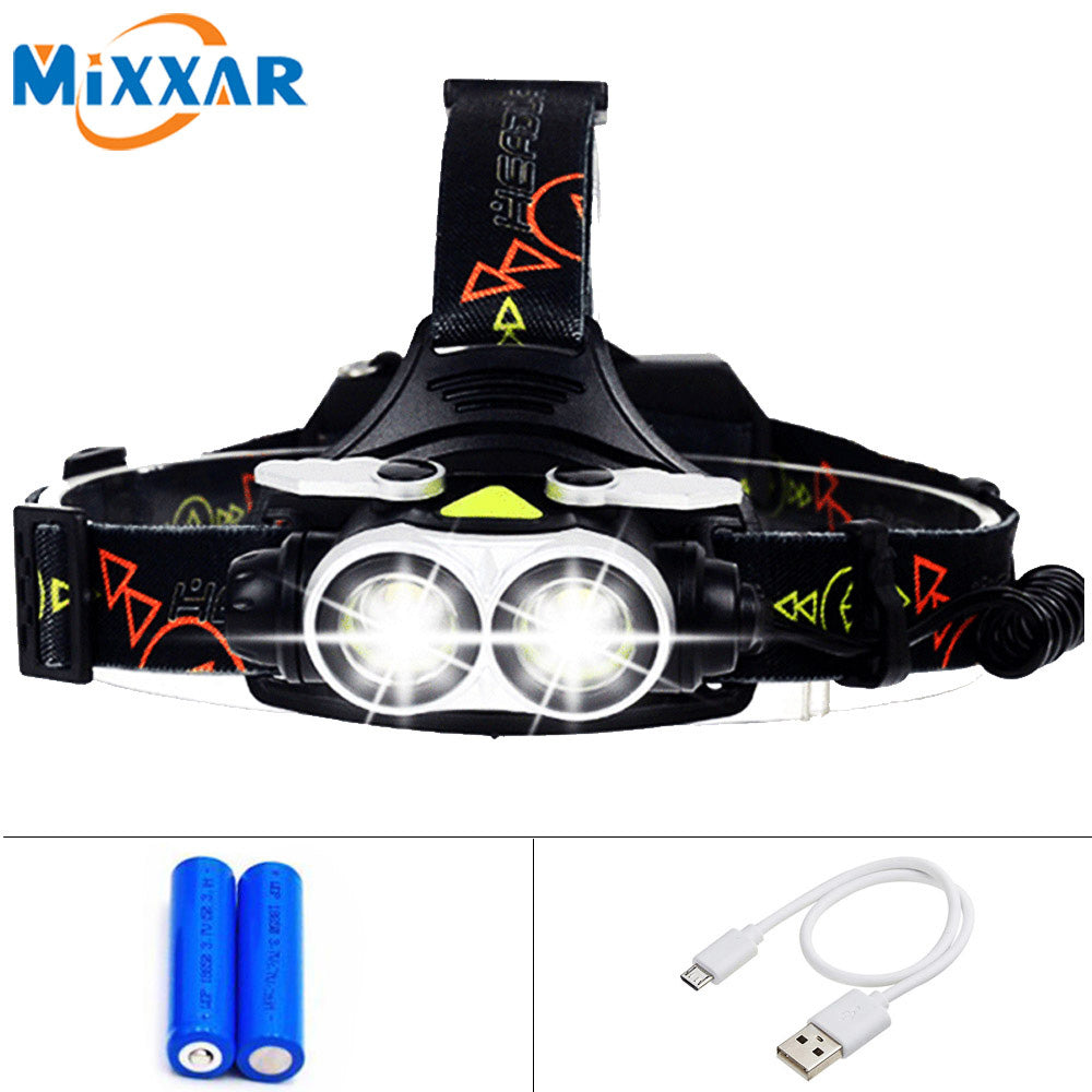 LED Headlamp 2 T6 with SOS Whistle USB Charge Cable