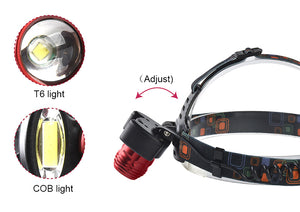 Rechargeable LED Headlamp Zoomable Head Torch for Fishing Camping
