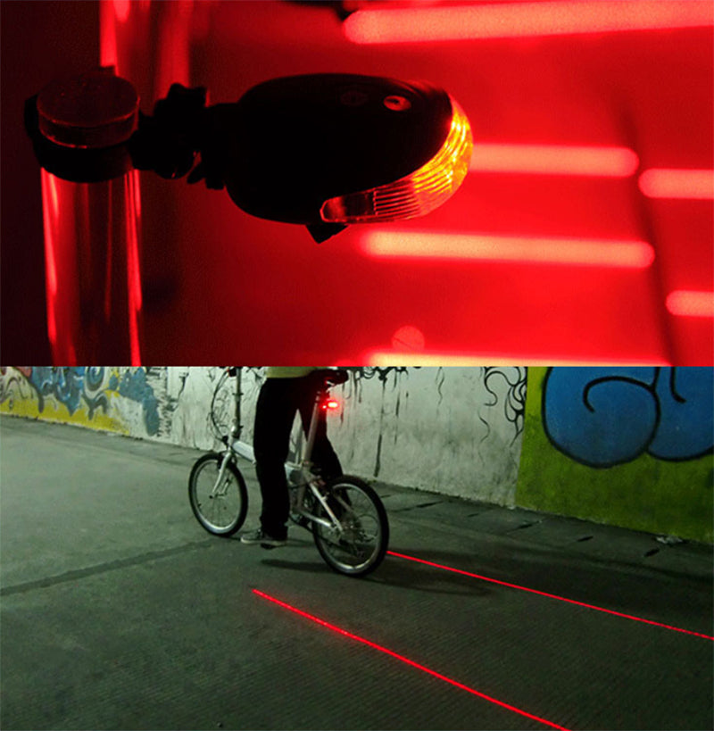 LED Bike Light 5 LED+ 2 Laser Tail Light Safety Warning Rear Light Lamp