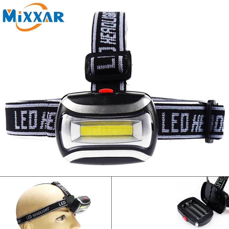 LED Mini Plastic Head Light Lamp 3AAA For Camping Hiking NO Battery