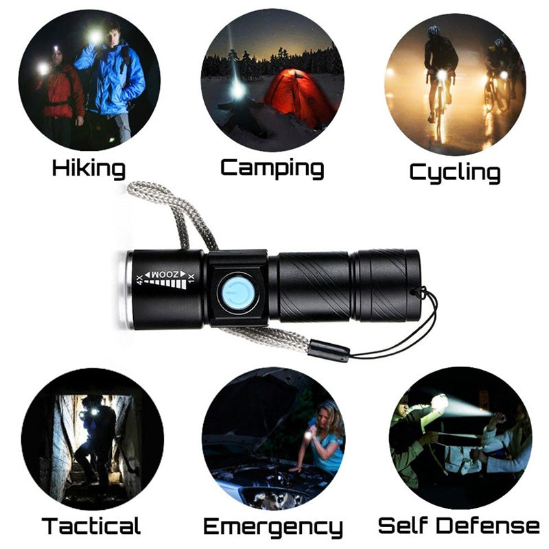 Mini Flashlights Q5 USB Rechargeable Waterproof Ultra Bright LED Flashlight