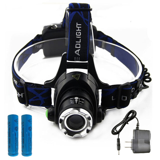 T6 L2 Led Headlamp Zoomable Waterproof Fish Light
