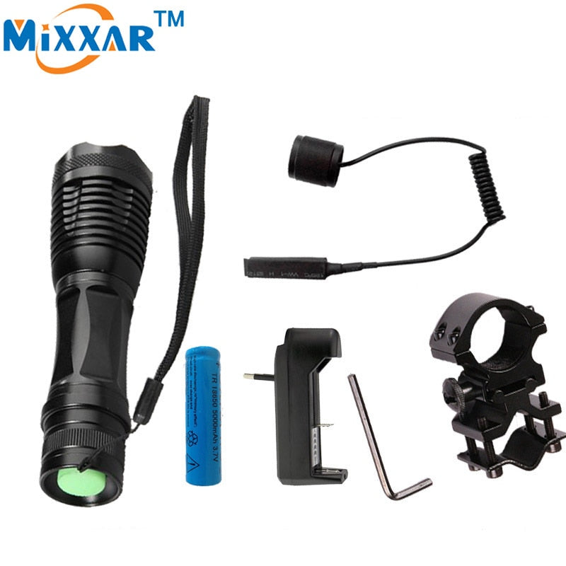 T6 led Tactical Flashlight 9000Lm Zoomable Torch For Hunting