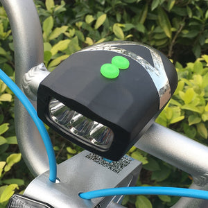 Universal White Front Bike Light  Cycling Lamp + Electronic Bell Horn Hooter Siren Waterproof Accessories