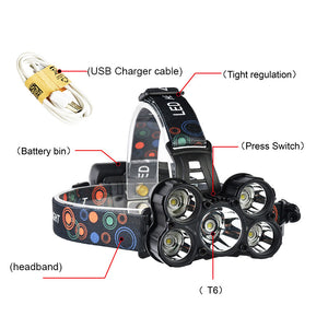 LED Headlamp 5 Chip T6 /Q5 Lantern 18650 Battery